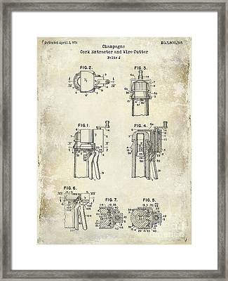 Champagne  Cork Extractor And Wire Cutter Patent Drawing Framed Print by Jon Neidert