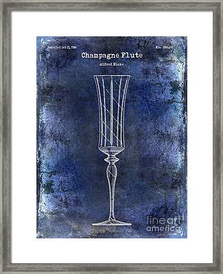 Champagne Flute Patent Drawing Blue 2 Framed Print by Jon Neidert