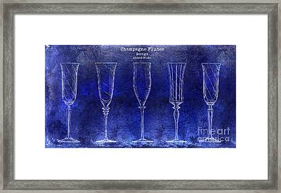 Champagne Flutes Design Patent Drawing Blue Framed Print by Jon Neidert