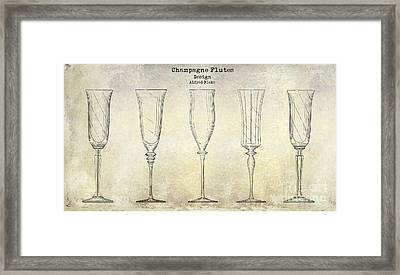 Champagne Flutes Design Patent Drawing Framed Print