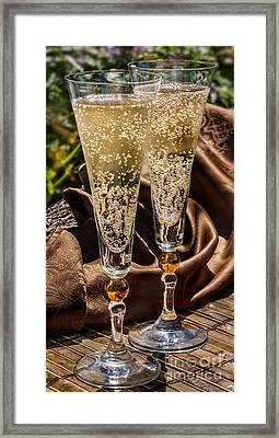 Champagne For Two Framed Print by Iris Richardson
