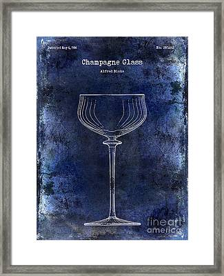 Champagne Glass Patent Drawing Blue 2 Framed Print by Jon Neidert