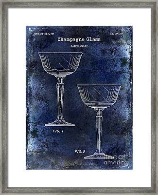Champagne Glass Patent Drawing Blue Framed Print