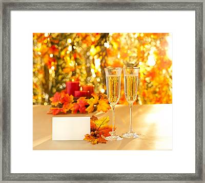 Champagne Glasses For Reception In Front Of Autumn Background Framed Print by Ulrich Schade