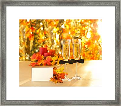 Champagne Glasses With Conceptual Same Sex Decoration For Gay Me Framed Print by Ulrich Schade