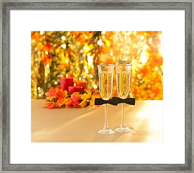 Champagne Glasses With Conceptual Same Sex Decoration For Gay Framed Print by Ulrich Schade
