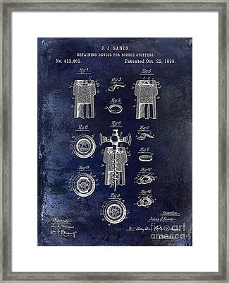 Champagne Retaining Device Patent 1889 Blue Framed Print