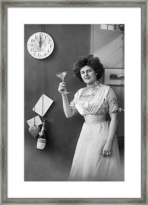 Champagne Toast At Midnight Framed Print by Underwood Archives