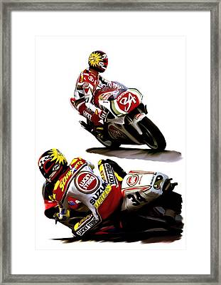 Champion 34  Kevin Schwantz Framed Print by Iconic Images Art Gallery David Pucciarelli