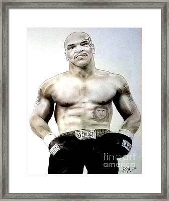 Framed Print featuring the pastel Champion Boxer And Actor Mike Tyson by Jim Fitzpatrick