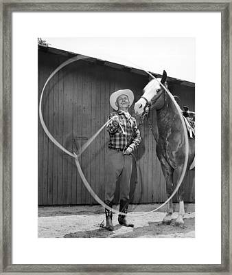 Champion Rope Spinner Framed Print by Underwood Archives