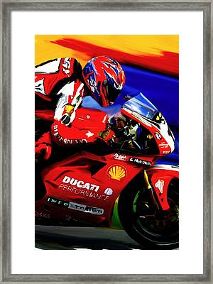 Champions Grit Carl Fogarty Framed Print by Iconic Images Art Gallery David Pucciarelli