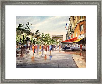 Champs Elysees And Arc De Triomphe Framed Print by Bill Holkham
