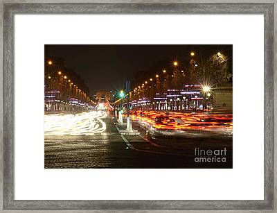 Champs-elysees And Arc De Triomphe Framed Print by Sami Sarkis