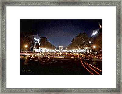 Champs Elysees At Night Framed Print