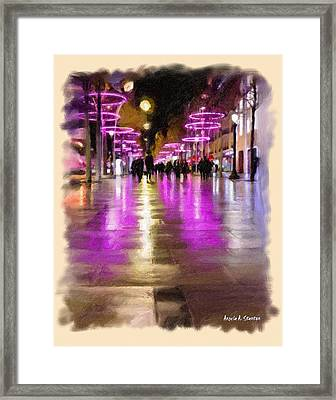 Champs Elysees In Pink Framed Print by Angela A Stanton