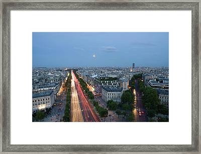 Champs-elysees Paris From The Top Framed Print by Tom Norring