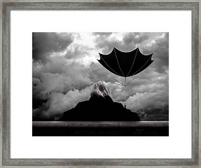 Chance Of Rain   Broken Umbrella Framed Print by Bob Orsillo