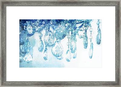 Chandelier Crystals In Blue Framed Print by Suzanne Powers