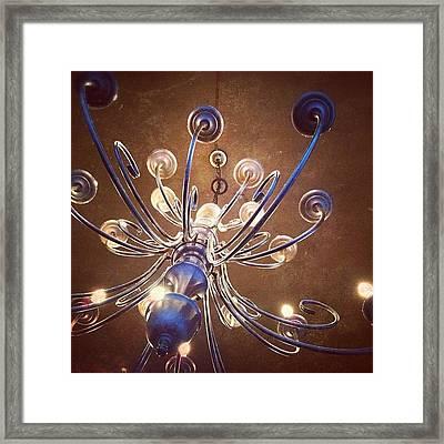 Chandelier In Blue Framed Print