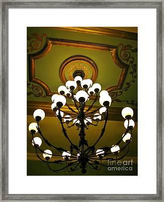 Chandelier In Hotel Lobby Framed Print