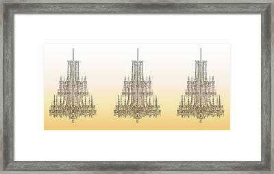 Trio Of Crystal Palace Chandeliers In Gold Framed Print by Suzanne Powers