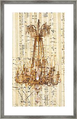 Chandelier With Franz Liszt Music Score Framed Print by Suzanne Powers