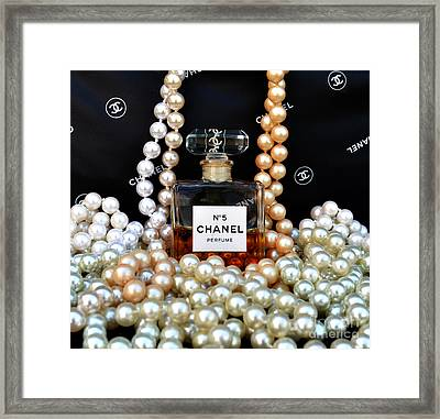 Chanel No 5 With Pearls Framed Print by To-Tam Gerwe