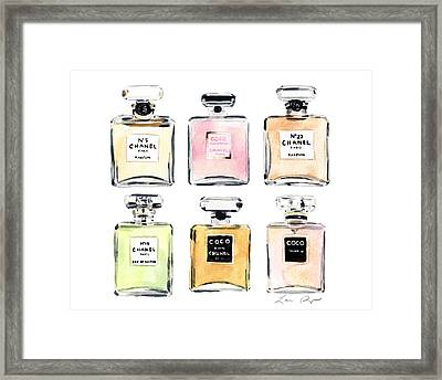 Chanel Perfumes Framed Print by Laura Row Studio