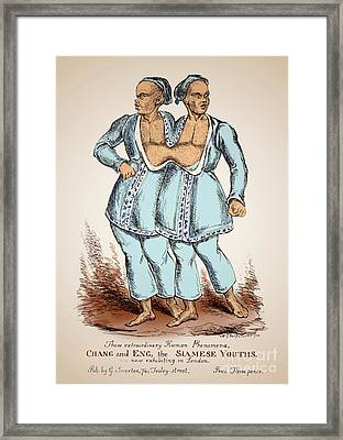 Chang And Eng Bunker Siamese Twins Framed Print by Science Source