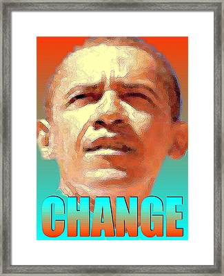 Barack Obama Change - Poster Framed Print