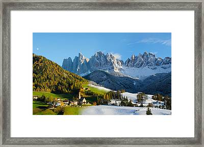 Change Of Season With Fall Turning Into Winter Framed Print