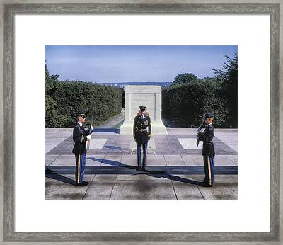Changing Of The Guard Framed Print by Mountain Dreams