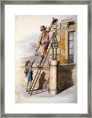 Changing Street Lamp Burner, 1805 Framed Print