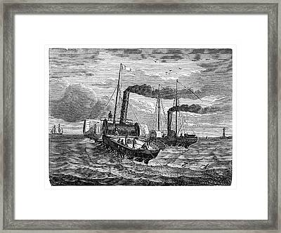 Channel Telegraph Cable Laying Framed Print by Science Photo Library
