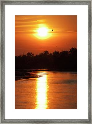 Channels And Lakes During Sunset Framed Print