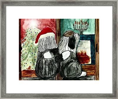 Chanukah Christmas Friends Framed Print