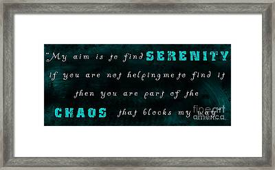 Chaos Be Gone Framed Print by Margaret Newcomb