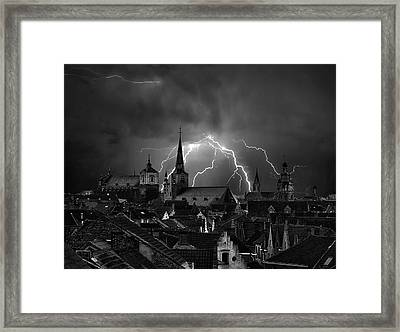 Chaos In The Sky Of Bruges Framed Print