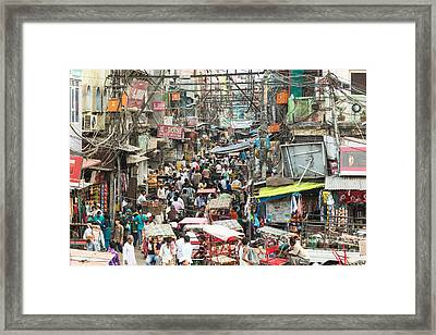 Chaotic Streets Of New Delhi In India Framed Print