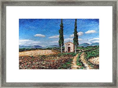 Chapel And Two Trees, Tuscany, 2005 Oil On Board Framed Print