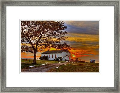 Chapel At Fort Hancock Sandy Hook Nj In Sunset Framed Print by Geraldine Scull