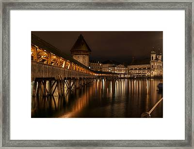 Chapel Bridge Lucerne Framed Print by Caroline Pirskanen
