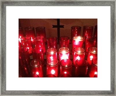 Chapel Candles Framed Print by Tina Nies