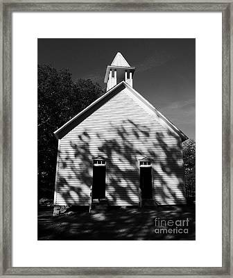 Chapel In The Woods Bw Framed Print