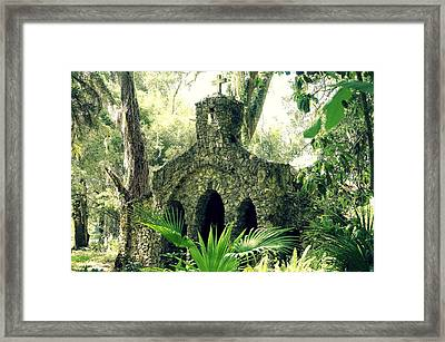 Chapel In The Woods Framed Print by Laurie Perry