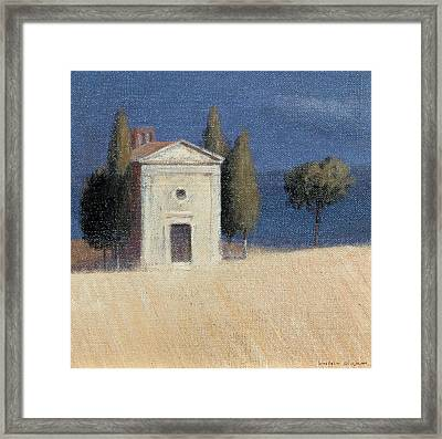 Chapel Near Pienza II, 2012 Acrylic On Canvas Framed Print by Lincoln Seligman