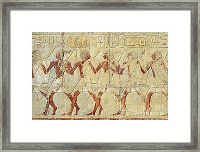 Chapel Of Hathor Hatshepsut Nubian Procession Soldiers - Digital Image -fine Art Print-ancient Egypt Framed Print