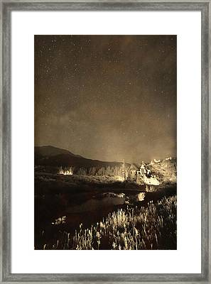 Chapel On The Rock Stary Night Portrait Monotone Framed Print by James BO  Insogna