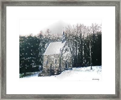 Chapel Under Snow Framed Print by Christian Simonian